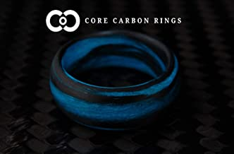Men's or Women's Carbon Fiber Blue Marbled Glow Ring - Handcrafted - Black and Blue Glowing Band - Custom Band widths