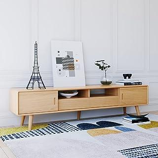 180 cm TV Stand Cabinet Solid Wood Oak Entertainment Unit Storage Furniture, Natural