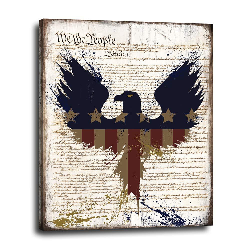 American Flag Eagle Wall Award-winning store Max 41% OFF Decor Rustic - Canvas Vintage Patriotic