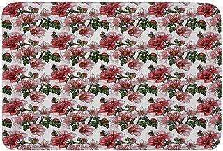 Ladybugs Non Slip Door Mat,Exotic Flowers Hibiscus Hawaiian Foliage Illustration Botany Spring Blossom Decorative Floor Mat for Bathroom Living Room,23