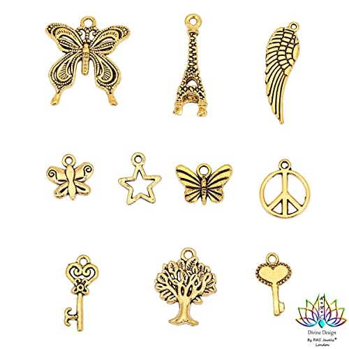 7012fe01f RKC 5 to 200 PCS SILVER + GOLD Plated CHARMS PENDANTS BEADS MIX For  Bracelets JEWELLERY