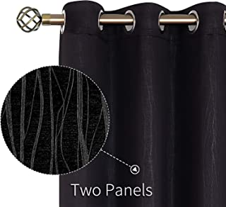 BGment Embossed Blackout Curtains for Bedroom - Grommet Thermal Insulated Room Darkening Curtains for Living Room, 52 x 84 Inch, Set of 2 Panels, Black