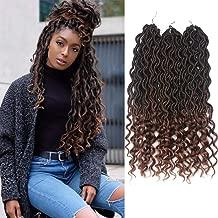 Goddess Faux Locs Braids 18 Inch Crochet Hair Wavy Synthetic Braiding Hair Ombre Brown Color Ocean Wave Curly Ends Soft Goddess Locs Bohemian Dreadlocks Havana Mambo Twist(3Packs,T1B/30#)