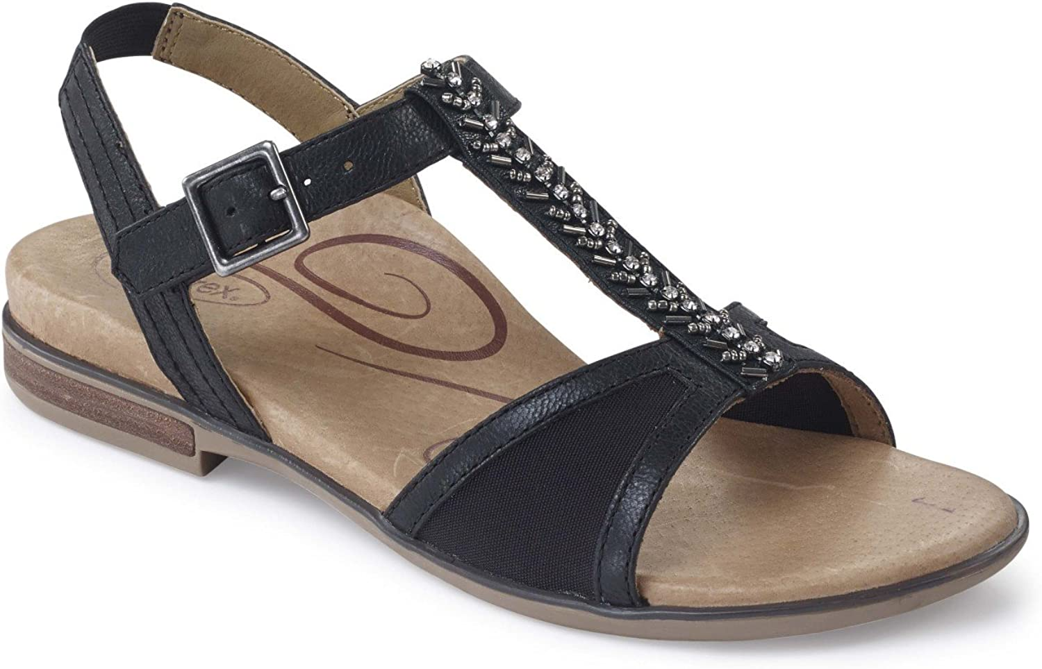Aetrex Womens Leanna Leather Open Toe Casual T-Strap Sandals