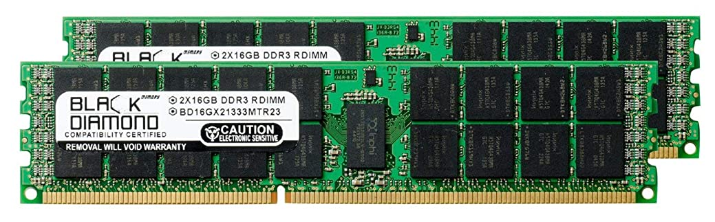 美的オリエント深遠32GB 2X16GB Memory RAM for Dell PowerEdge R620 (RDimm) Black Diamond Memory Module 240pin PC3-10600 1333MHz DDR3 ECC Registered RDIMM Upgrade