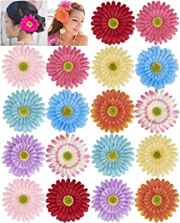 18 Pack Fake Artificial Silk Gerbera Daisy Flower Sunflower Daisies Hair Clips Barrettes Clamp Clasps Bow With Alligator Brooch Pin Tropical Hair Pieces Accessories African Beach Holiday Wedding Party