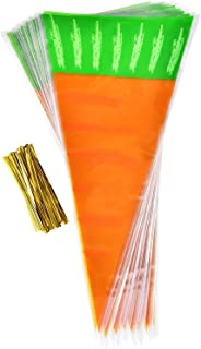 Hicarer 50 Pieces Easter Carrot Cone Bags Cellophane Treat Bags with 50 Pieces Gold Twist Ties, 16 by 8 Inch
