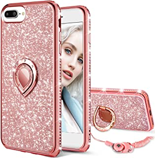Maxdara Case for iPhone 8 Plus iPhone 7 Plus Glitter Case Bling Kickstand Ring Holder Diamond Rhinestone Bumper Ultra Thin Cute Girls Women Case for iPhone 6 Plus 6s Plus 7 Plus 8 Plus (Rosegold)