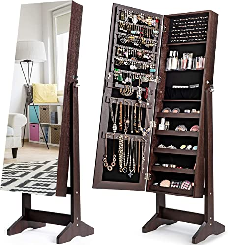 lowest CHARMAID Jewelry Armoire Cabinet with Frameless Full discount Length Mirror, Standing Lockable online sale Wooden Jewelry Organizer Storage Box with Large Capacity, 4 Angel Adjustable (Brown) outlet sale
