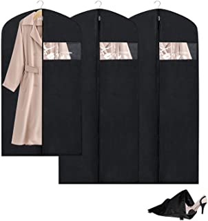 Breathable Garment Bag Clothes Storage Bag Anti-Moth Protector &Dustproof Suit Bag Clear Window Zipper Folding Suits, Tuxedos, Dresses, Coats & More(Set of 3)