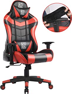 LC-Power Gaming Chair with Armrest Pads,Ergonomic Racing Style Computer Desk Chair Office Chair Lumbar Support with Backrest and Seat Height Adjustment for Women,Men(Red)