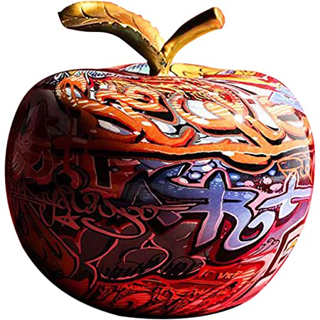 Fenteer Moderne Dessin Coloré Apple Résine Sculpture Creative Graffiti Simulation Apple Art Statue Décor À La Maison Cadeau d'anniversaire - 20x20x20cm