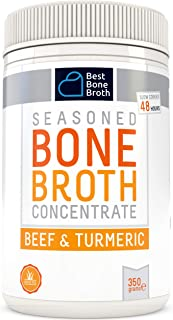 Beef Bone Broth Concentrate with Turmeric - Rich in Collagen to help improve gut health, skin firmness and healthy hair - Great for keto and paleo - Grass Fed, Hormone Free