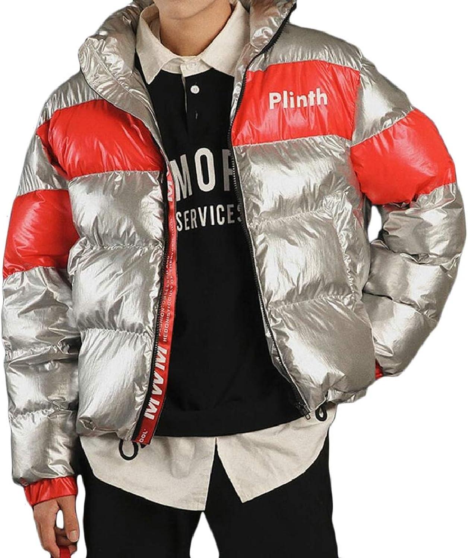 Winwinus Mens Mid-Long Brumal Plus Size Classic-Fit Fur Collar Jacket
