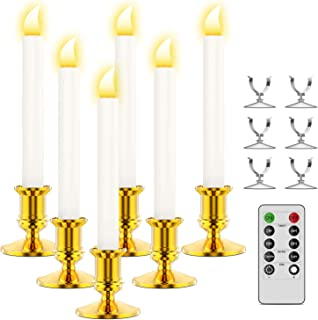 Ronxs Window Candles, 6 Pcs LED Candles with Timer, Outdoor Christmas Decorations Flameless Candles Battery Operated Flickering Candles with 1 Remote Controls, Gold Candle Holders, Suction Cups