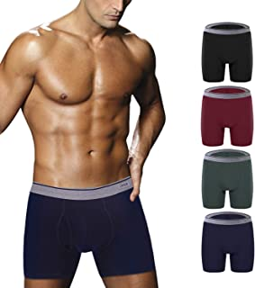 Ddgoo Men's Comfortable Bamboo Fiber Boxer Briefs Ultra Soft Comfy Breathable Underwear with Fly 5 Pack