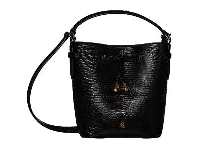 LAUREN Ralph Lauren Debby III Drawstring Mini (Black Embossed Leather) Handbags