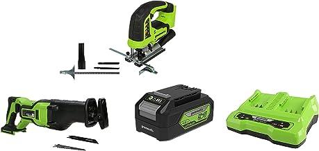 Greenworks Tools Sierra de calar sin Cable GD24JS + Batería sierra de sable GD24RS, 24V Li-Ion control de velocidad + Batería G24B4 2ª generación + Batería de doble ranura Cargador universal G24X2C