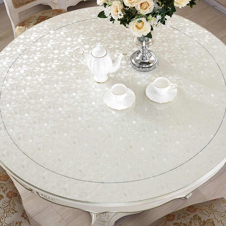 SX-BBF Tischdecke, Wasserdicht Crystal Plate Couchtisch Tuch PVC Tischdecke Weiß Pebbles 1mm (Größe   Round- 90cm) B07F43JHLY Optimaler Preis  | Garantiere Qualität und Quantität