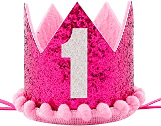 Maticr Sparkled First 1st Birthday Crown Baby Girl Princess Headband Party Supplies for Cake Smash (Hot Pink)