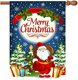 Wamika Santa Present Xmas Tree Gift Seasonal Garden Flag for Outdoors, Christmas Snowman Snowflake Welcome Holiday Double Sided Yard Flags 28x40 inch for Decorative Party Home Decor