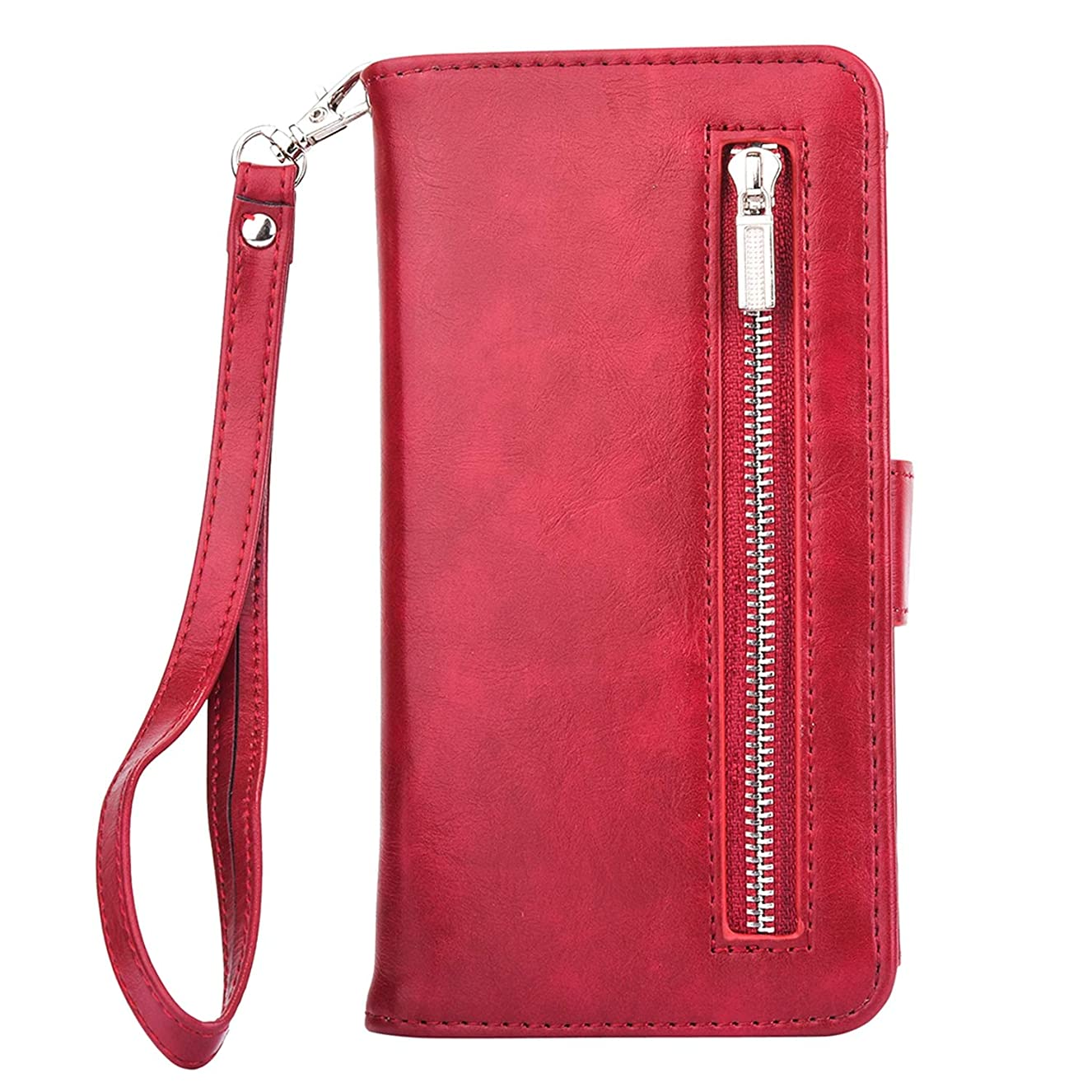 Zipper Wallet Leather Case for iPhone Xs Max X 8 7 7 Plus 6 6S Plus Flip Phone Case Luxury Cover for iPhone 5 5S Magnetic Case,Rose Red,for iPhone 5 5S SE hcvredawtf2948