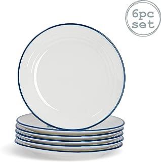 SUMMA Lot de 6 Assiettes /à Pain en Porcelaine Blanche et Ivoire 17 x 10 cm