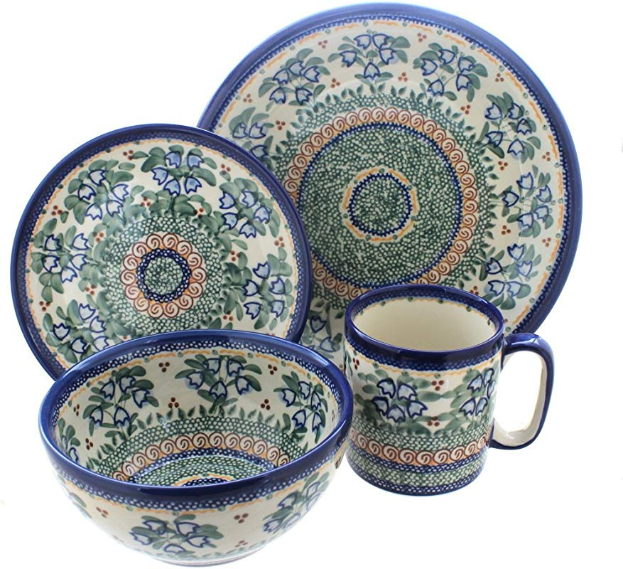Blue Rose Polish Pottery Bluebell 4 Piece Place Setting Service For 1