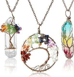 3 Pieces Tree Pendant Tree of Life Quartz Crystal Pendant Necklace Chakra Gemstone Copper Wire Wrap Necklace