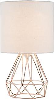 Valens Lampe de Chevet, Lampe de Table avec Pied Géométrique et Tambour en Tissu Blanc, Lampe de Table de Nuit, Lampe à Po...