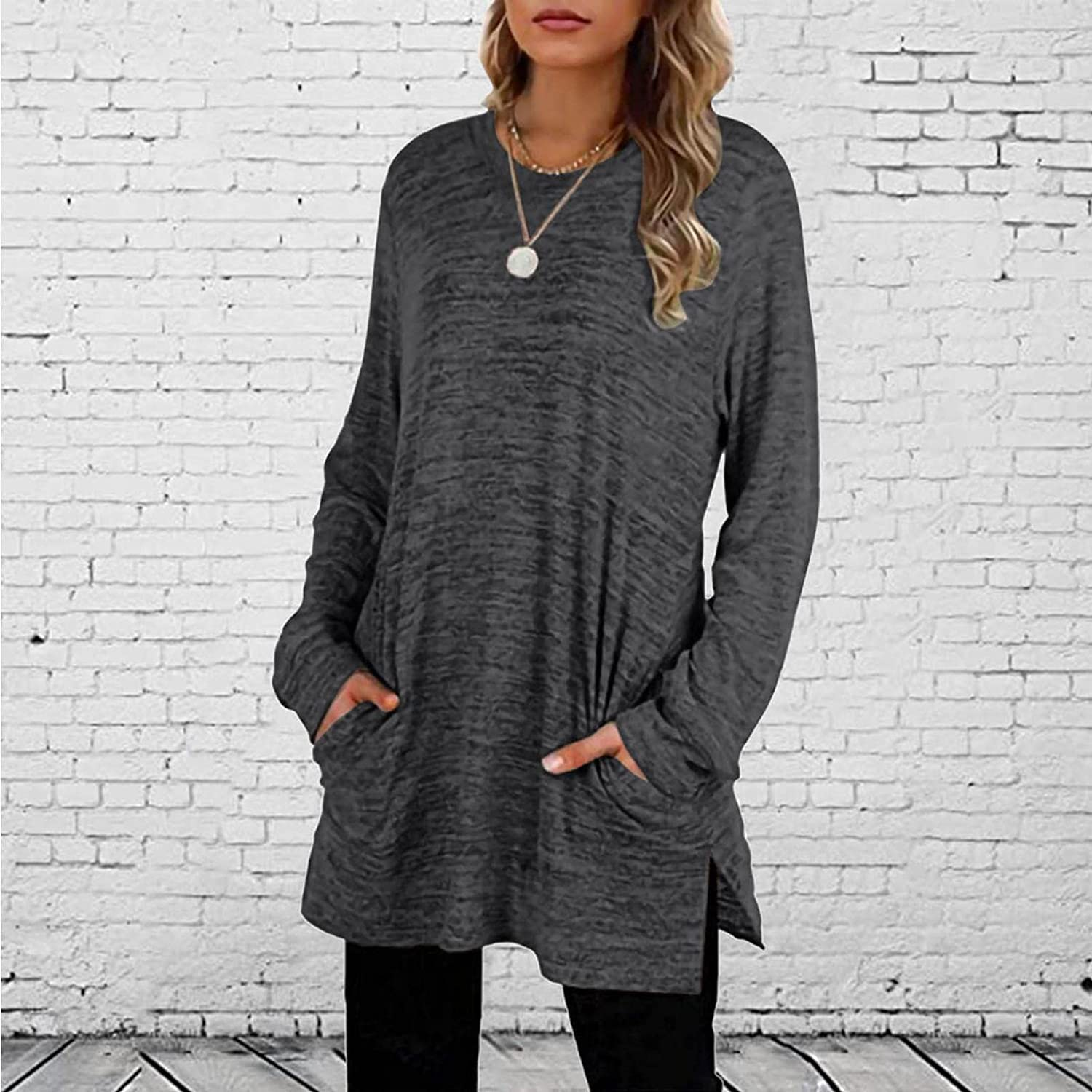 DZQUY Womens Casual Plus Size Long Tops Long Sleeve Basic Tee Split Side Jerseys Baseball T Shirts Dress Blouse with Pocket
