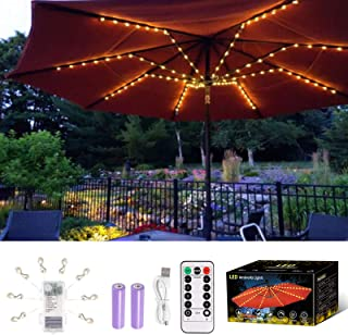 ALOVECO Patio Umbrella Light Rechargeable, Battery Powered String Lights with Remote Control, 8 Lighting Modes, 104 LED Wa...