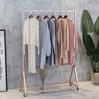 FURVOKIA Modern Simple Heavy Duty Metal Rolling Garment Rack with Wheel,Retail Display Clothing Rack,Wrought Iron Single Rod Floor-Standing Hangers Clothes Shelves (Rose Gold Square Tube, 47.2 L)