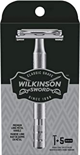 Wilkinson Sword Double Edge Razor for Men With 5 Double Edge Razor Blades Refills