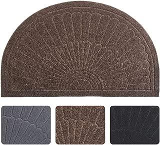 Half Round Door Mat Entrance Rug Floor Mats, Waterproof Floor Mat Shoes Scraper Doormat, 18''x30'' Patio Rug Dirt Debris Mud Trapper Out Door Mat Low Profile Washable Carpet (Coffee)