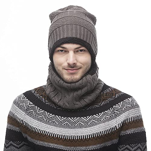 Tacobear 2pcs Unisex Winter Beanie Hat and Circle Scarf Set Knit Warm  Winter Hat Loop Infinity 0e3a47187c20