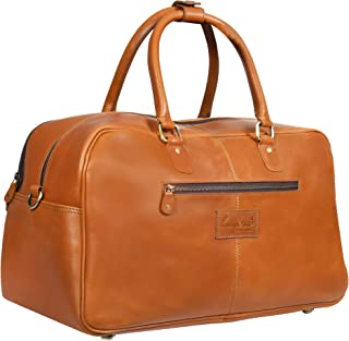 Orange Leather Travel Carry On Duffle Bag Luggage for Men and Women