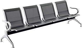 PrimeMatik - Chaises sur poutre pour salle d'attente avec 4 sièges ergonomique noir