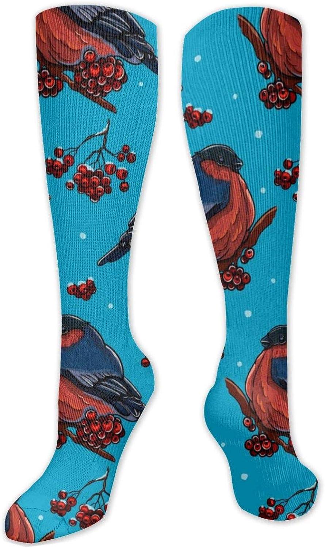 Red Bird Knee High Socks Leg Warmer Dresses Long Boot Stockings For Womens Cosplay Daily Wear