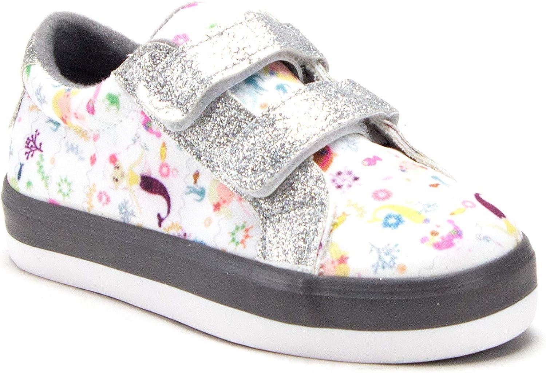 Toddler Little Girls Mermaid Print Twinkle Glitter Sneakers Flats Shoes