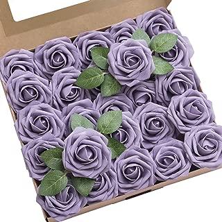 Ling's moment Roses Artificial Flowers 50pcs Realistic Lavender Purple Fake Roses with Stem for DIY Wedding Bouquets Centerpieces Floral Arrangements Decorations