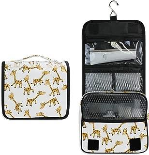 HousingMart Hanging Toiletry Bag Cute Cartoon Giraffe Animal Makeup Cosmetic Bag Zipper Toiletry Kit Large Travel Toiletry Bag Organizer with Hook