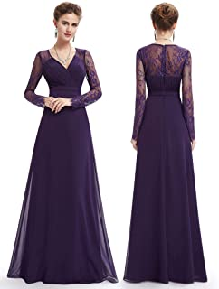 511074f52eb62 Ever-Pretty Women's Elegant V-Neck Long Sleeve Evening Party Dress 08692