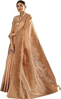 faf0ace281 AKHILAM Women's Silk Blend Saree with Unstitched Blouse Piece  (Beige_KNSLA80009)