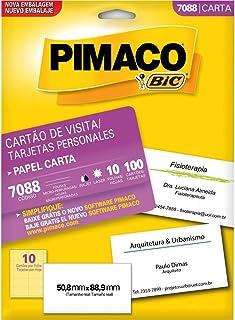 Cartão de Visita Microserrilhado Fosco, BIC, Pimaco, 874900, Branca, 100 Unidades