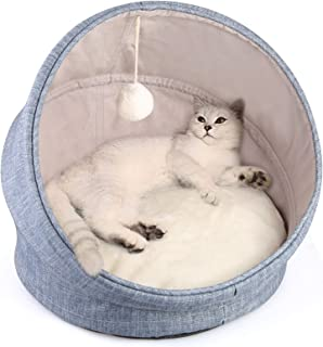 LBLA 2-in-1 Cat Bed and Cave Cat Bed for Indoor Cats, Machine Washable Cat Beds, 18 inch Pet Bed for Cats or Small Dogs wi...