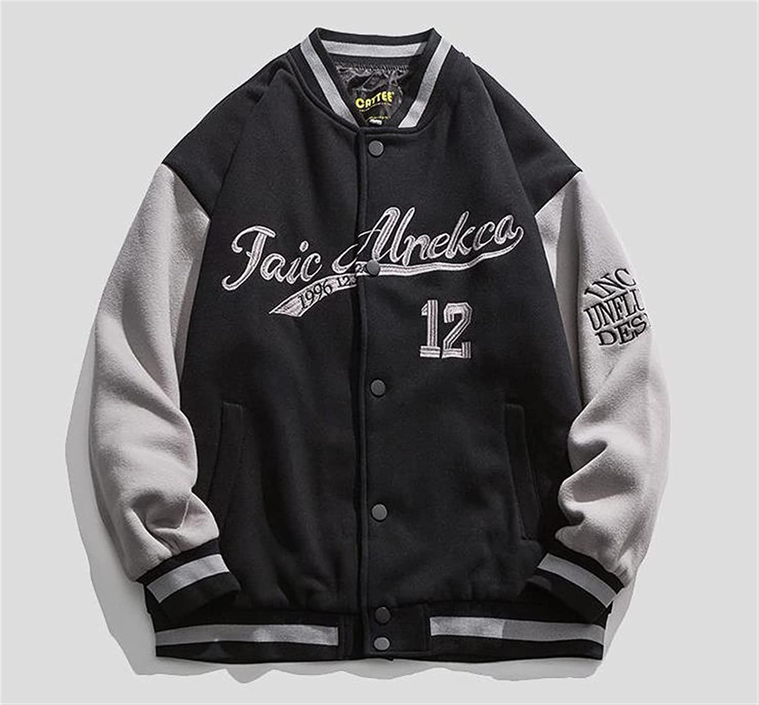 without logo 2021 New Hip-hop Baseball Jacket Big Letters Embroidery Patchwork Streetwear College Rock Jacket Fashion (Color : Blcak, Size : XX-Large)