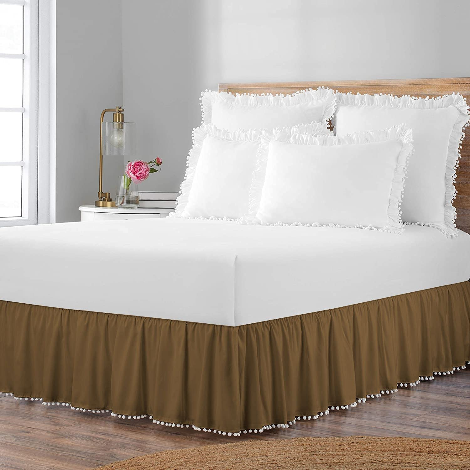 Special price for a limited time International Sheets Purchase Pom Ruffle BedSkirt Egyptian 100% Cotto