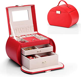 Vlando Jewelry Box from Netherlands Design Team, with Mirror and Storage Drawers (Red (New))