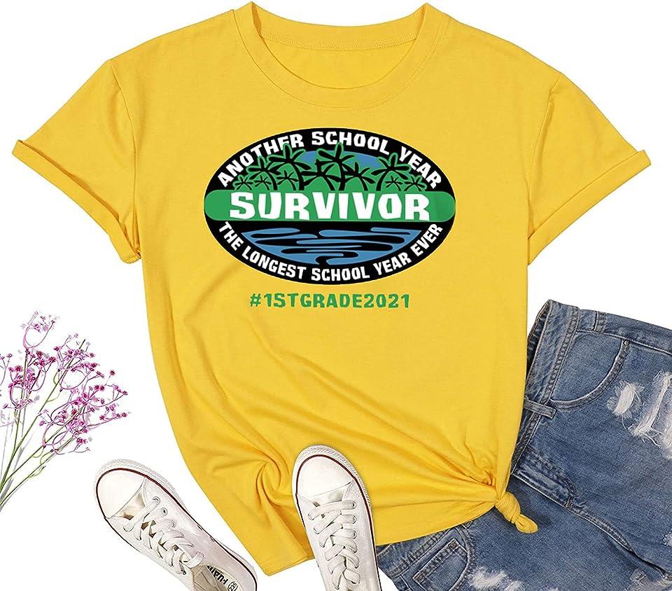 Another School Year Survivor The Longest School Year Ever Teacher 2021 Shirt 1st Grade Teacher 2nd Grade Teacher 3rd Grade Teacher Shirt Custom Grade Teacher Summer Shirt